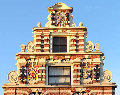 Top facade of the Corts House in Enkhuizen